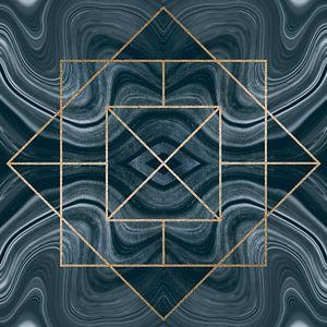 Carreau Art Déco bleu or sur Andrea Haase