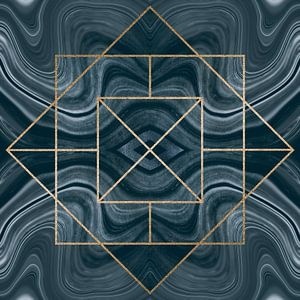 Art Deco Tegel Goud Blauw