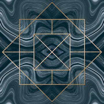 Art Deco Kachel Gold Blau von Andrea Haase