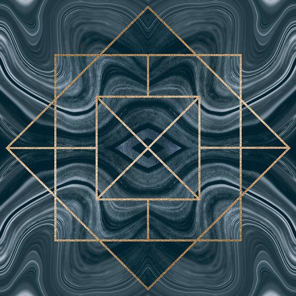 Art Deco Tegel Goud Blauw van Andrea Haase