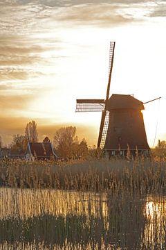 Molen in tegenlicht aan de Hoornse Vaart te Alkmaar van Ronald Smits