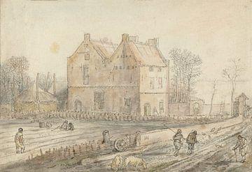 Landhaus mit Sämaschine auf dem Feld, Hendrick Avercamp, 1595 - 1634