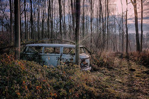 VW Bus Lost in the Woods van Maikel Brands