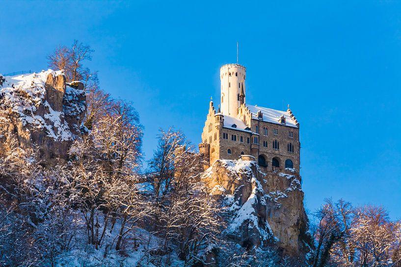 View of Lichtenstein Castle in Germany van Werner Dieterich