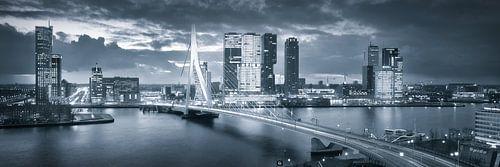Skyline Rotterdam Erasmusbrug - Metallic Grey von Vincent Fennis