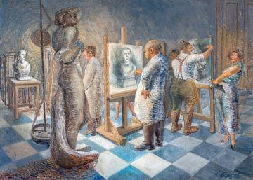 Kunstenaars in de academie.
