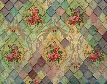 Blumen an der Wand von Rudy en Gisela Schlechter