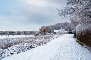 Uitzicht over de Warnow naar Rostock in de winter van Rico Ködder