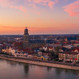 Deventer, Overijssel zonsondergang van Thomas Bartelds