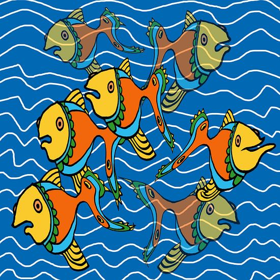 Nieuwsgierige vissen sur MY ARTIE WALL