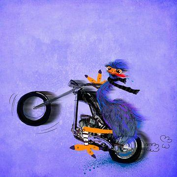 struisvogel op een motor schilderij van Nicole Roozendaal