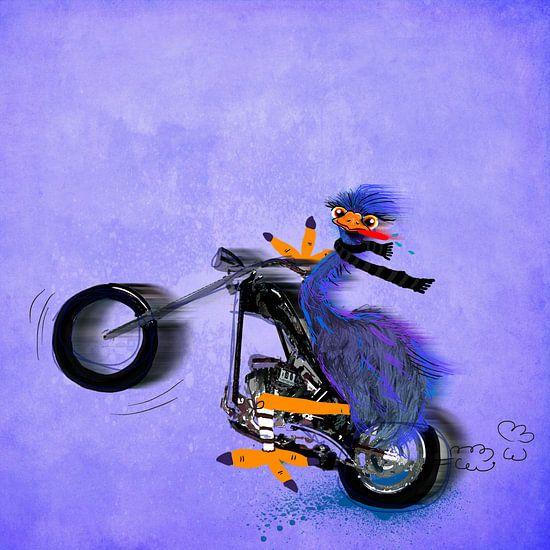 struisvogel op een motor schilderij