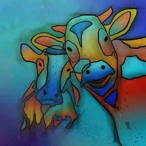 Kleurrijke koeien. van
