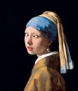 Fille avec une boucle d'oreille en perle avec une mouche sur son nez sur Maarten Knops