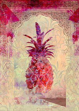 Marrakech Pineapple - Pink   Digital art Marrakesh - Exotische oosterse stijl van Marlou Westerhof