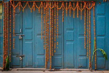 Blaue Tür mit Blumen in Nepal von Ellis Peeters