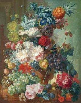 Obst und Blumen in einer Terrakotta-Vase, Jan van Os