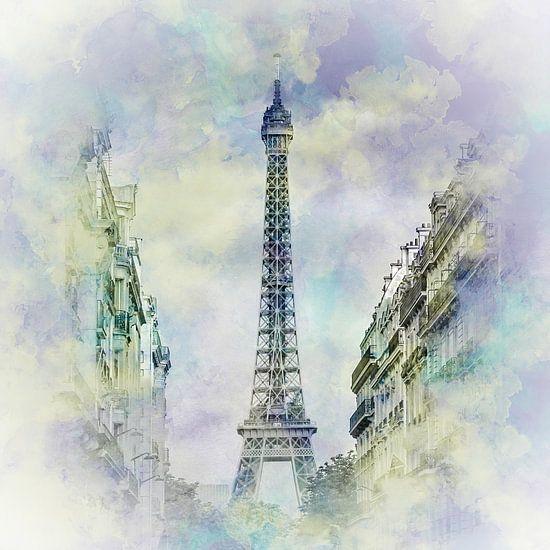 Parijse Flair | Aquarel Stijl van Melanie Viola