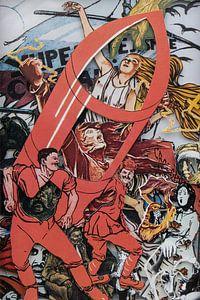 Collage d'affiches avec la propagande de la Révolution russe