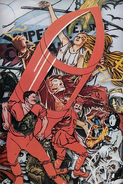 Collage in rood met stripfiguur - posters met propaganda uit Rusland in revolutie van Oscarving
