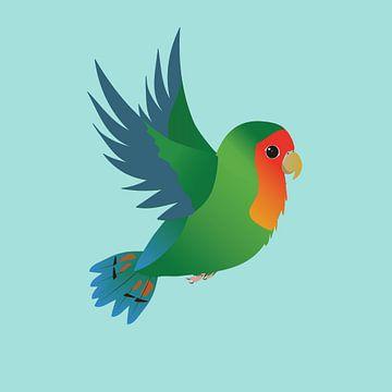 Fliegender grüner Papagei von Bianca Wisseloo