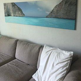Klantfoto: Uitzicht vanaf Shipwreck Beach (Zakynthos) van Leonie Boverhuis, op canvas
