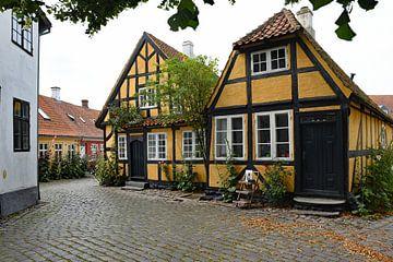 Sfeervolle oude huizen in Fåborg, Denemarken van Tjamme Vis