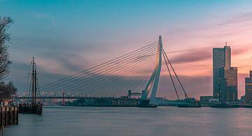 Erasmusbrücke während des Sonnenaufgangs in Rotterdam von Arisca van 't Hof