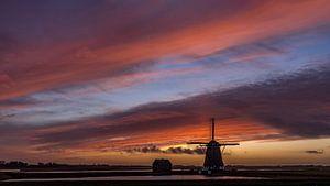 Molen Het Noorden Texel zonsondergang stilte voor de storm