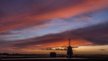 Mill The North Texel Sonnenuntergangsstille vor dem Sturm von Texel360Fotografie Richard Heerschap