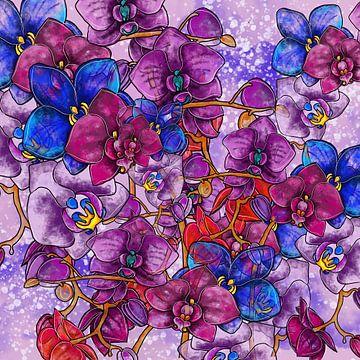 Blumenmotiv - Bunte Orchideen auf schwarzem Hintergrund van Patricia Piotrak
