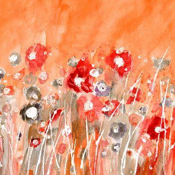 Blumenwiese Rot von Claudia Gründler