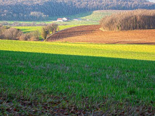 Frans heuvellandschap met boerderij