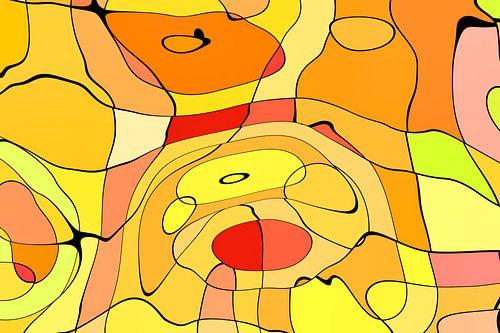 Hot Dog, abstrakte Hunde in warmen Farben