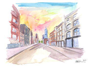Manhattan Straßen Szene mit Wolkenkratzern von Markus Bleichner