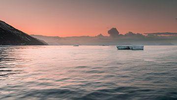 Panorama - Zonsopkomst Cape Adare Antarctica van Eefke Smets