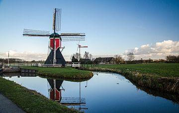 Molen van de Polder Buitenweg (buitenwegse molen) voordat hij afbrandde in Zuilen, Utrecht, fotoprin van Manja Herrebrugh - Outdoor by Manja
