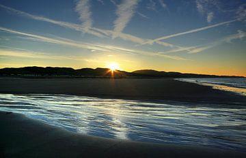 Die Sonne geht am Strand von Zoutelande auf von MSP Canvas