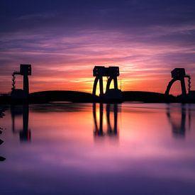 Zonsondergang stuw Driel van Eddy Westdijk
