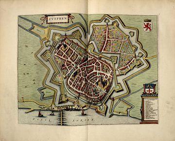 Zutphen, Stadsplattegrond Joan Blaeu 1652 van Atelier Liesjes