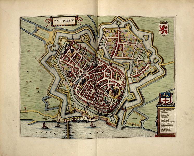 Zutphen, Stadtplan Joan Blaeu 1652 von Atelier Liesjes