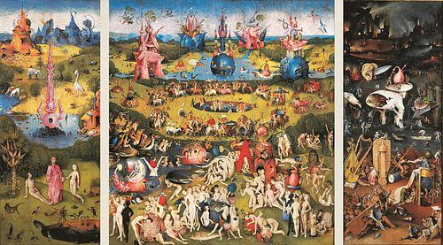 Schilderij Tuin der Lusten (volledig drieluik) - Jheronimus Bosch van Schilderijen Nu