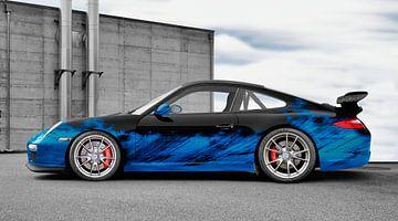 Porsche 911 GT3 Typ 997 Art Car in blue-black von aRi F. Huber