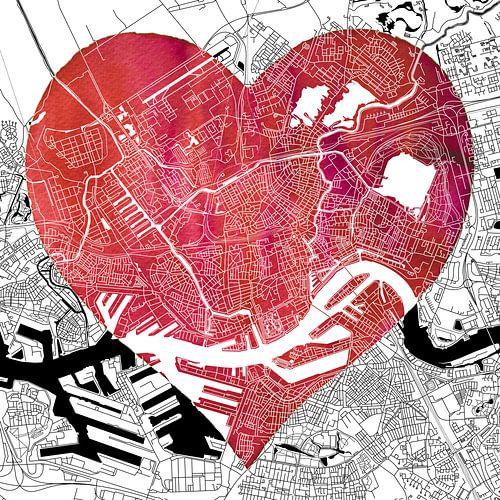 Liefde voor Rotterdam - Stadskaart van - Wereldkaarten.Shop -