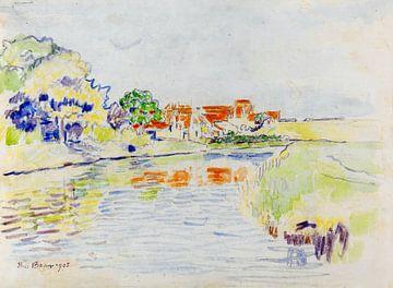 Kanal zwischen Wäldchen und Wiesen vor einem Dorf mit roten Dächern, PAUL BAUM, 1905 von Atelier Liesjes