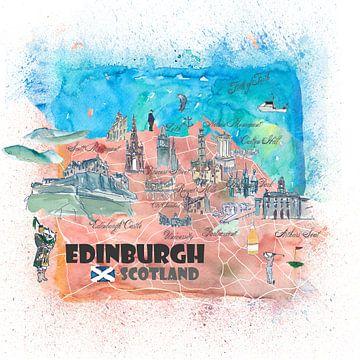 Illustrierte Karte von Edinburgh Schottland mit Sehenswürdigkeiten und Highlights der Hauptstraßen von Markus Bleichner