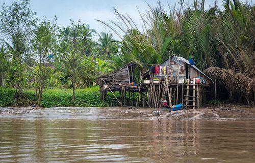 Wonen op de oever van de Mekong, Vietnam