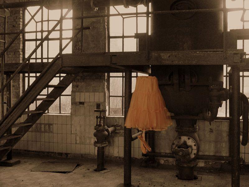 tule ballet rok in verlaten fabriek/ Dance like no one is watching van Tineke Bos