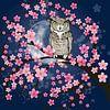 Amerikaanse oehoe in een bloesemboom van Bianca Wisseloo thumbnail