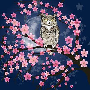 Amerikanischer Uhu in einem Blütenbaum von Bianca Wisseloo
